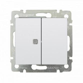 Выключатель двухклавишный с индикацией белый, Valena (комплект 10 шт.)