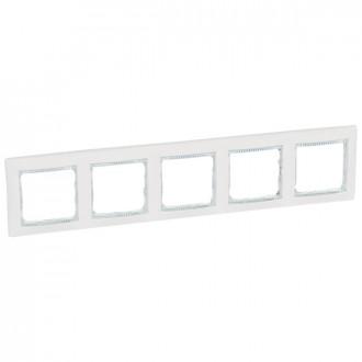 Рамка 5 постов белый/кристалл, Valena