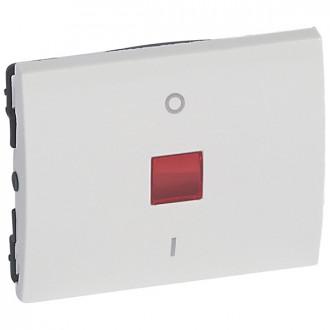 Клавиша двухполюсная 0/1 с индикацией белая, Galea Life (комплект 10 шт.)