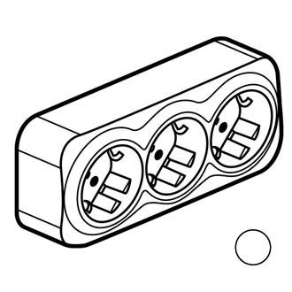 Розеточный блок 3x с защитными шторками белый, Quteo